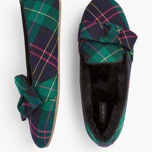 Talbots Fireside Bow Slippers ~ Tartan